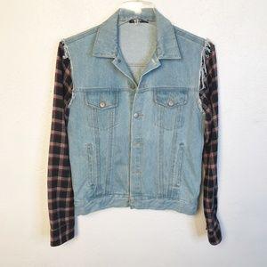 Brandy Melville Denim Jacket Flannel Sleeves L